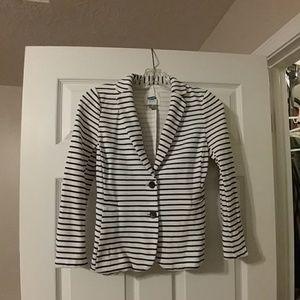 Old Navy Black and White Stripe Knit Blazer